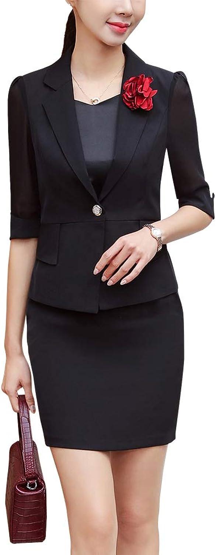 LISUEYNE Women's Elegat 2 Pieces Office Lady Business Suit Set Slim Fit Blazer Jacket and Skirt Suits