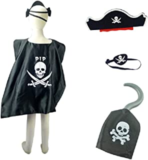 Pirate Party Set Pirate Cloak, Pirate Hats, Eye Patches, Sword, Gun, Halloween Cosplay Captain Costume for Pirate Theme Party