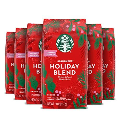 Starbucks Medium Roast Ground Coffee — Starbucks Holiday Blend — 100% Arabica — 6 bags (10 oz ea)