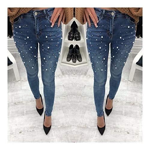 Mujeres Blue Jeans Pantalones pitillo perla de cuentas de los pantalones vaqueros negros de primavera y verano señoras de la alta de la cintura con cremallera larga de mezclilla vaqueros ocasionales m