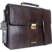 UNICORN (ユニコーン) レアルレザーブラウンビジネスエグゼクティブブリーフケースキーロックメッセンジャーバッグ Real Leather Business Briefcase Bag Brown #3N