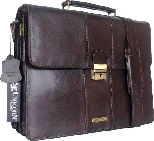 UNICORN Vera Pelle Lavoro Esecutivo Borsa Ventiquattrore Marrone Keylock Messenger Bag #3N
