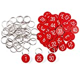 50pcs Etiqueta Roja Plástica Grabado Números Identificador para Llaves Armarios para llaves Cajones Gimnasio Oficina CON LLAVERO