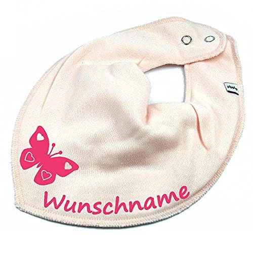 HALSTUCH SCHMETTERLING mit Namen oder Text personalisiert rosa für Baby oder Kind
