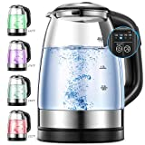 Electric Kettle, Glass Kettle Temperature Control With 5 Colors LED...