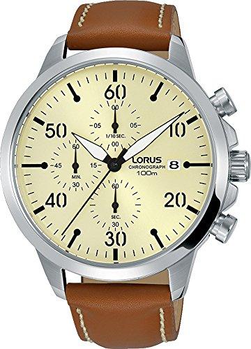Lorus Sport Herren-Uhr Chronograph Edelstahl mit Lederband RM355EX9