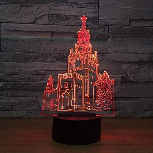 Klok toren gebouw 3D USB LED Nachtlampje 3AA Batterij Power 7 Kleuren veranderen Illusie Lamp Touch Afstandsbediening Kids Geschenken A-1606