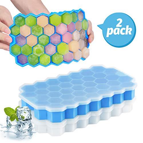 Eiswürfelform, 2er Pack 37-Fach Eiswuerfel Form Mit Deckel, Flexible Silica Gel Eiswürfelformen für gekühlte Getränke, Whisky und Cocktails, LFGB Zertifiziert und BPA Frei