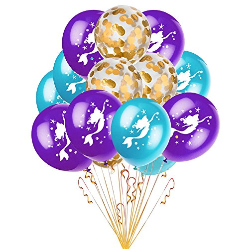 MeterMall 15 st¨¹cke 12 inch Bunte Latex Ballon Romantische Hochzeit Dekoration Ballons mit Sch?nen Muster Einhorn Meerjungfrau Birthday Party Supplies Champagne Mermaid