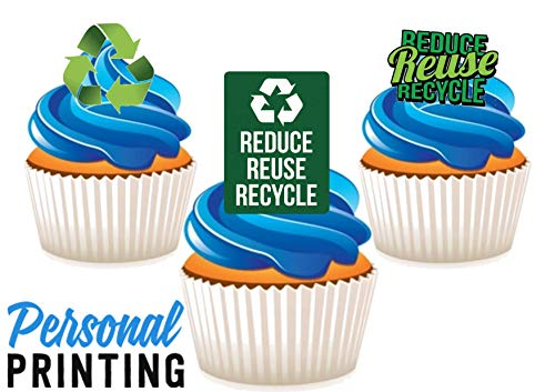 PP - Recycle Week Trio 12 Eetbare Stand up Premium Wafer Card Cake Toppers Decoraties