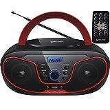 lettore cd portatile | boombox | cd/cd-r | usb | radio fm | aux-in | jack per cuffie | lettore cd | radio per bambini | radio cd | impianto stereo | impianto compatto ... (cherry kiss red)