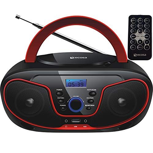 Tragbarer CD-Player | Boombox | CD/CD-R | USB | FM Radio | AUX-In | Kopfhöreranschluss | CD Player | Kinder Radio | CD-Radio | Stereoanlage | Kompaktanlage… (Cherry Kiss Red)