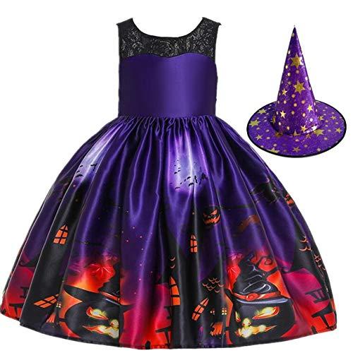 LOBTY Disfraz de Bruja para niña, Disfraz de Fiesta de Disfraces de Halloween con Sombrero de Bruja Vampiresa Sacerdotisa Disfraz de Cosplay