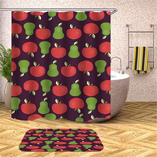 SLN Fruchtdekoration. Apfel Birne. Duschvorhang: 180X180 cm. Matten: 40X60 cm. Wasserdicht. Schnell Trocknend. Mit Haken. Badezimmer-Kombinationsvorhangset