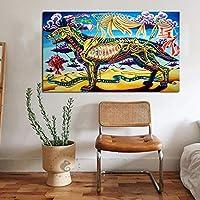 Pintura sin Marco Esqueleto de Lobo Colorido Abstracto Moderno Lienzo Arte Cartel de la Pared Sala de Estar Artista decoración del hogarZGQ5052 30X40cm