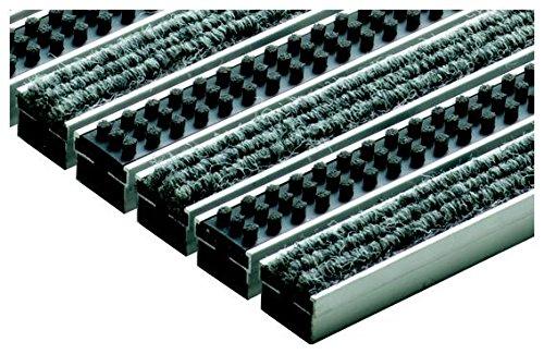 ACO Vario Schuhabstreifer-Matte 75x50 cm Fußmatte aus hellgrauen Rips-Streifen und Cassetten-Bürsten für außen
