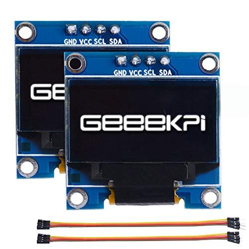 GeeekPi 2Pack 0.96 Pulgadas OLED Módulo 12864 128x64 Blanco SSD1306 Controlador IIC Serie Módulo de placa de pantalla para Arduino, Raspberry Pi, Beagle Bone Black