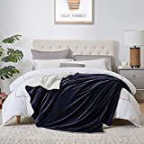 """Walensee Sherpa Fleece Blanket (King Size 108""""x90"""" Navy) Plush Throw Fuzzy Super Soft Reversible Microfiber Flannel Blankets for Couch, Bed, Sofa Ultra Luxurious Warm and Cozy for All Seasons"""