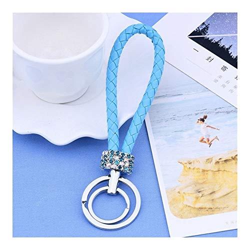 Llaveros 22Colors Lazo Doble del Cristal del Rhinestone Llavero del Monedero del Bolso del Mensajero de Coches Mochila Colgante Decoraciones (Color : Lake Blue)