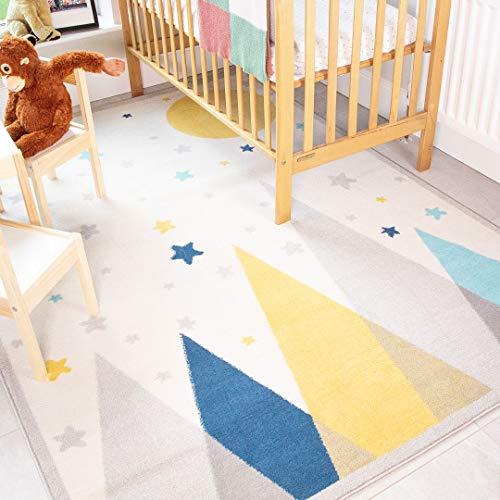 Children's Kids Scandi Rug Durable Cream Grey Mountains Stars Moon Bedroom Playroom Nursery Rugs Boys Girls 120cm x 170cm