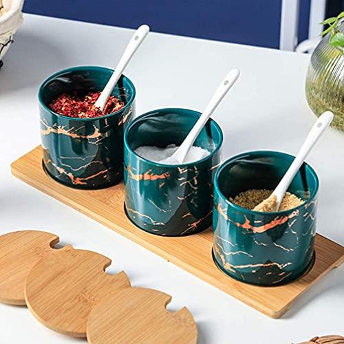 Pentola di spezie in ceramica con cucchiaio coperchio zucchero ciotola 3pc sale shaker coaster stoccaggio vetro zucchero sale spezia pepe agitatore cucina famiglia