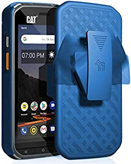 CAT S48c Case with Clip, Nakedcellphone [Cobalt Blue] Kickstand Cover with [Rotating/Ratchet] Belt Hip Holster Combo for Caterpillar CAT S48c Phone (Verizon, Sprint, Unlocked)