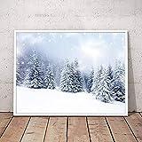 HGUT Cuadro decorativo para pared, lienzo con paisaje invernal, nieve, árbol de Navidad, cuadro impreso sobre lienzo, para salón, decoración de pared, sin marco (40 x 60 cm)