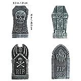 Hakka 4 Piezas de Decoración de Halloween | Lápida de Espuma de Cementerio de Rasgadura | Lápidas Escalofriantes Decoración Al Aire Libre Aterrador Zombie Vampiro Tumbas Suministros
