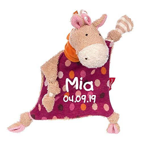 Sigikid Schmusetuch Pferd Hoppe Dot mit Namen bestickt Baby Geschenk zur Geburt Schnuffeltuch