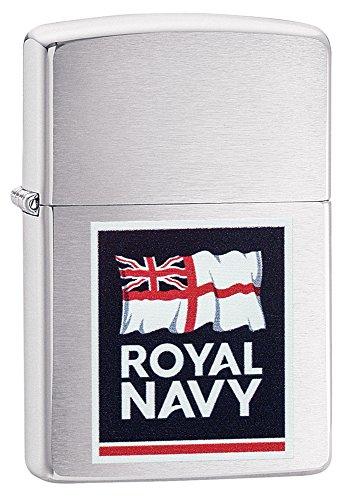 Zippo Royal Navy Logo, Accendino Tascabile Antivento Unisex-Adulto, Finitura cromata Spazzolata, Taglia Unica
