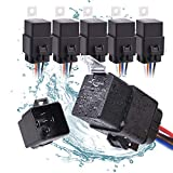 MICTUNING 12V 5 Pin Waterproof Relay Harness Set - SPDT Bosch Style Automotive 40Amp 30 Amp Relay with Heavy Duty 16AWG 14AWG Pre-wired Harness 5 pack