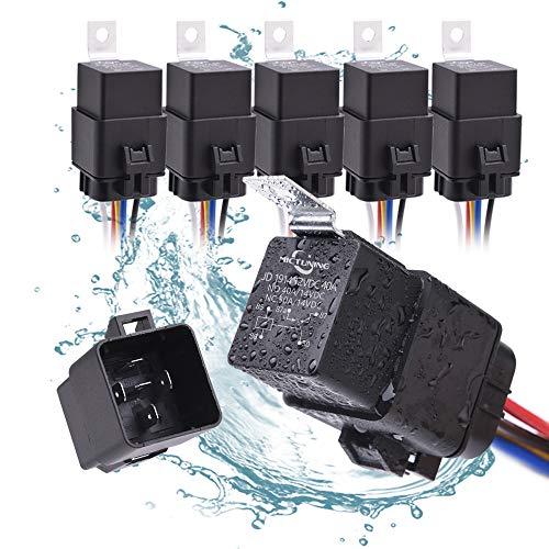 MICTUNING 40/30A 12V Wasserdichtes Relais-Kabelsatz-Set - 5-PIN-SPDT-Relais im Bosch-Stil mit robuster 16AWG 14AWG-Kabel (5-Pack)