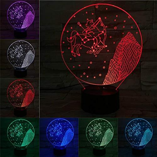 Sanzangtang Led-nachtlampje, 3D-vision-zeven, kleuren-afstandsbediening, beschermer, licht nachtlampje, veelkleurig, knipperlicht, voor kinderen