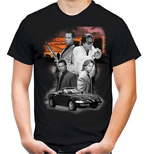 Miami Vice Männer und Herren T-Shirt | Crockett Tubbs Kult | M2 (L, Schwarz)