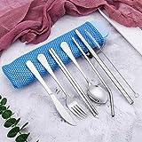 Juego de 7 utensilios de cocina portátiles, reutilizables, de acero inoxidable, con cuchillo,...