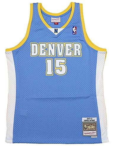 Mitchell & Ness Carmelo Anthony #15 Denver Nuggets NBA Swingman, Uomo, blu cielo, XXL