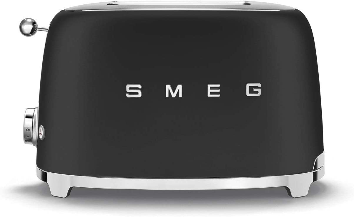 950 W Smeg TSF01CRUK Retro 2 Slice Toaster Removable Crumb Tray Extra-Wide Bread Slots 6 Browning Levels Defrost and Reheat Functions Cream