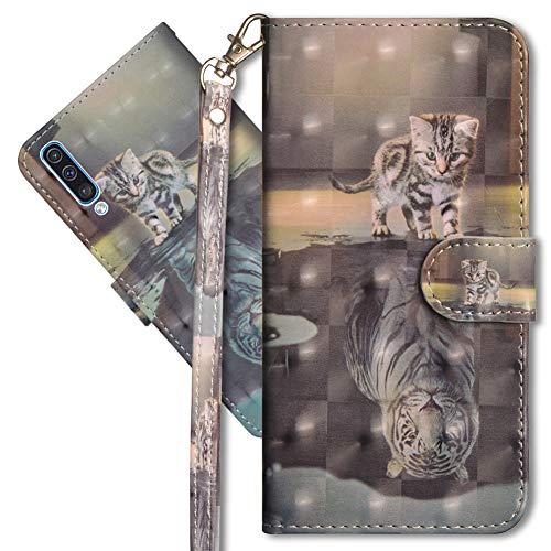 MRSTER Samsung A70 Handytasche, Leder Schutzhülle Brieftasche Hülle Flip Hülle 3D Muster Cover mit Kartenfach Magnet Tasche Handyhüllen für Samsung Galaxy A70. YX 3D - Cat Tiger