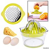 Citrus Juicer with Pulp Filter, Fruit/Vegetable/Chocolate Grater, Measuring Bowl, Egg Yolk Separator - Space Saving Design - Non Slip Silicone Bottom - Dishwasher Safe - No Electricity, No Noise