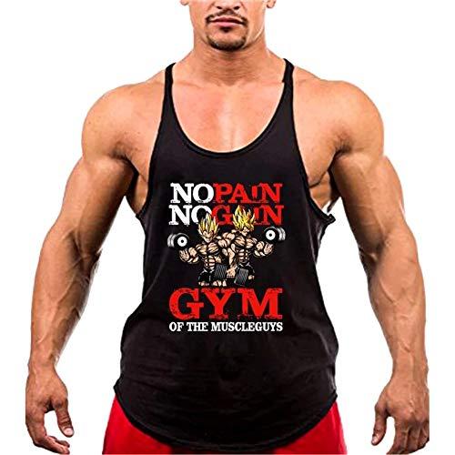 A. M. Sport Ropa Fitness Hombre para Entrenar y para Correr. Ropa Deportiva y Camisa Tirantes. (Goku Hilo Plancha) - XL
