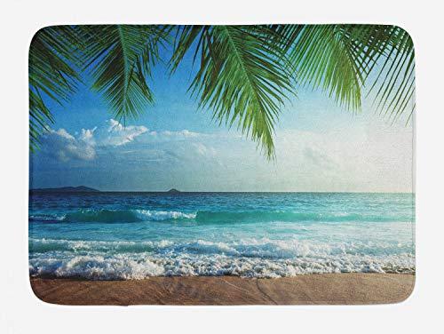 Ambesonne Ocean Bath Mat, Palms Tropical Island Beach Maldives Photography Home Postcard Traveler Explorer, Plush Bathroom Decor Mat with Non Slip Backing, 29.5' X 17.5', Blue Green