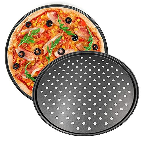 Taca do pizzy, NALCY nieprzywierająca blacha do pieczenia pizzy, naczynia do pieczenia naleśników ze stali węglowej, perforowane tace do pizzy do piekarnika, kuchenne narzędzia do pieczenia, taca do pieczenia pizzy z chrupiącą pizzą 25 cm