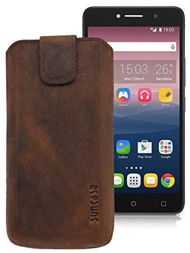 Original Suncase ECHT-LEDER Tasche Etui für | Alcatel One Touch Pixi 4 (8050D) Dual-SIM (6 Zoll) | (mit Rückzugsfunktion, Magnetverschluss) Cover Hülle Schutz antik-coffee