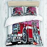 Funda nórdica, camión de bomberos grande con equipos de emergencia, equipo de rescate de seguridad universal, motor de dibujos animados, con 1 funda de edredón, 2 fundas de almohada, colección de ropa