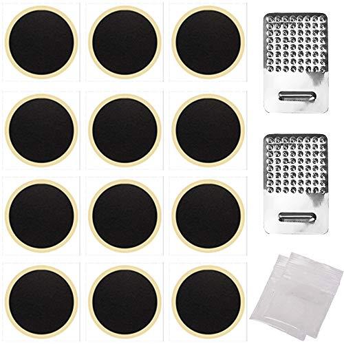 FLZONE Kit de Parche de Neumático para Bicicleta,12 Piezas Autoadhesivo Reparación de Pinchazos con 2 Piezas paquetes de rallador para la Mayoría de Bicicletas