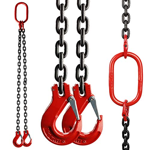 HighFree Chain Sling 5/16 Inch x 5 Feet Double Leg with Grab Hooks Sling Chain for Lifting 3 Ton Capacity, Chain Sling Grade 80 Mn-Steel
