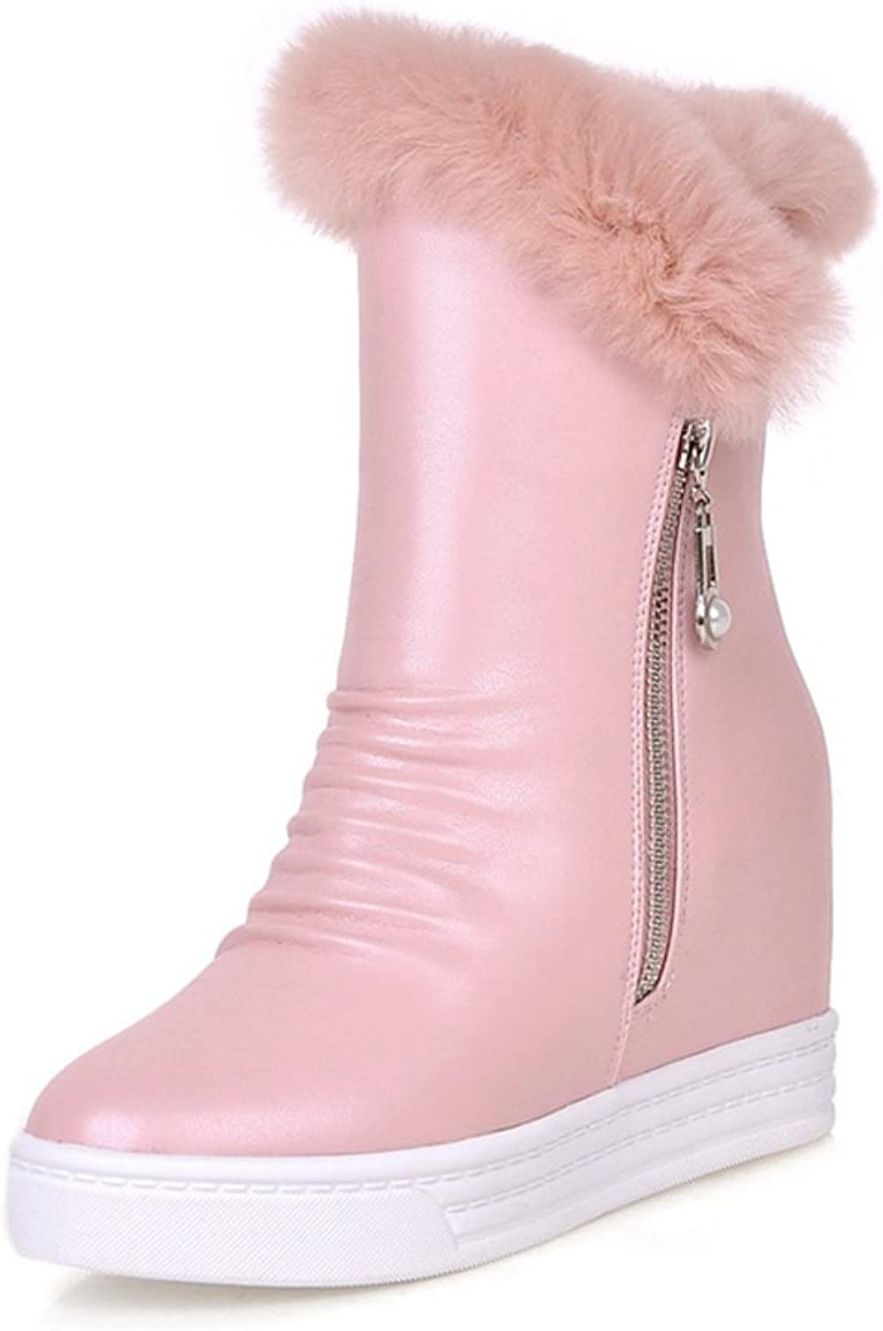 RHFDVGDS Increased winter rabbit fur short boots leisure platform Lady shoes Thick warm snow boots