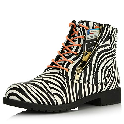 DailyShoes Tomb Raider Costume Combat Boots Women's Ankle Combat Bootie Stylish Elastic Round Toe Low Pull On Highs High Exclusive Credit Card Pocket Shoe Zebra,Pu,5.5, Shoelace Style Orange