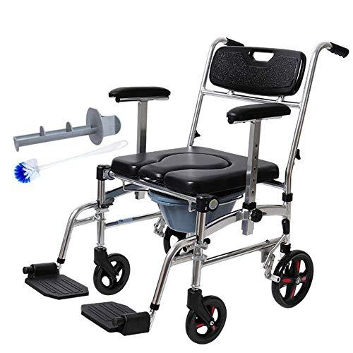 Z-SEAT Commode Chair Rollbarer extra breiter Toilettenstuhl mit Pedalhocker mit Eimer und gepolstertem Sitz Leichter Faltbarer Rollstuhl für Behinderte