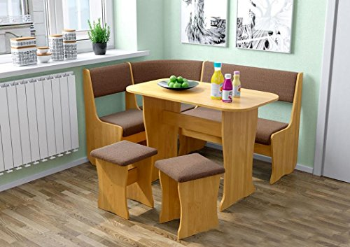 Ace Decore 4 Piece Fiji Breakfast Nook Dining Table Set L Shaped Storage Bench Honey Oak Upholstery Fabric Light Brown Buy Online In United Arab Emirates At Desertcart Ae Productid 42777845